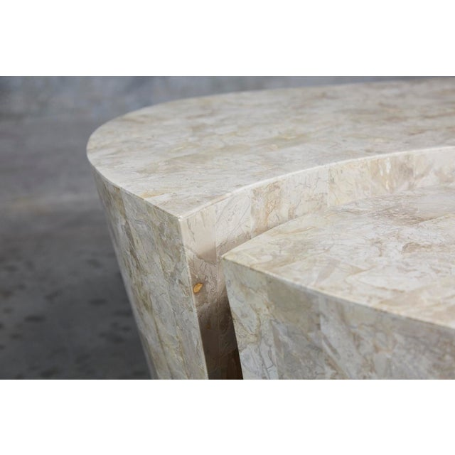 """Tan 1990s Contemporary Freeform Tessellated Stone Two Part """"Hampton"""" Coffee Table For Sale - Image 8 of 13"""