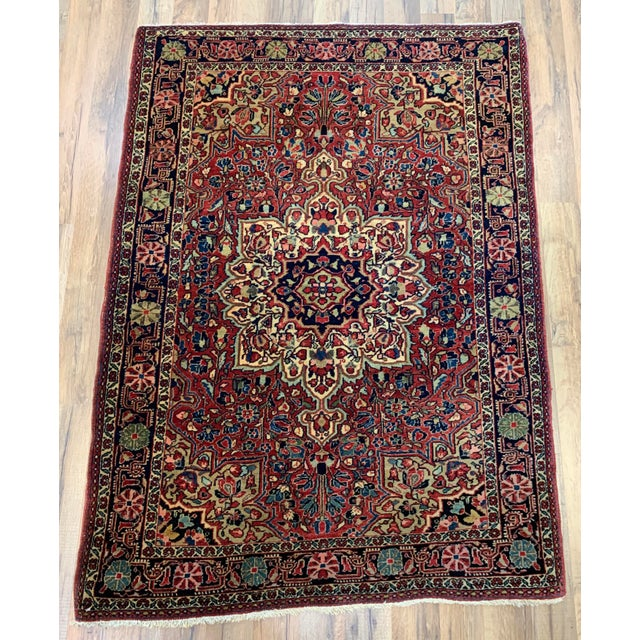 """1930s Antique Persian Sarouk Rug- 3'3"""" X 4'10"""" For Sale - Image 10 of 10"""