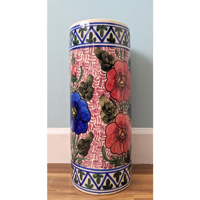 20th Century Floral Blue and Pink Ceramic Umbrella Stand For Sale - Image 11 of 11