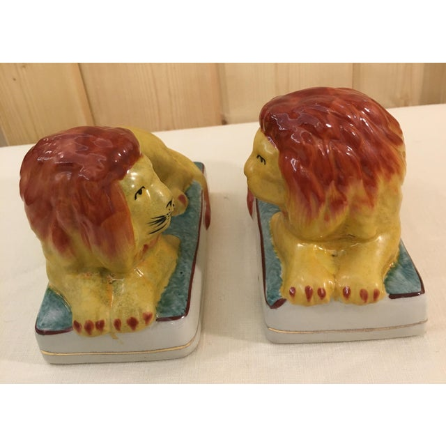 Ceramic Ceramic Lion Bookends - A Pair For Sale - Image 7 of 11