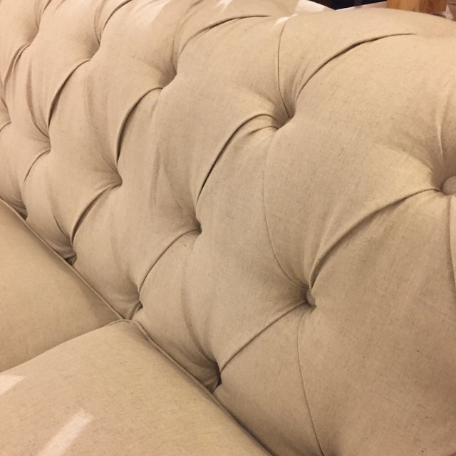 Chesterfield Style Oatmeal Linen Sofa - Image 6 of 8