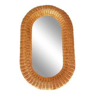 Vintage Large Wicker Wall Mirror Oval Honey Toned Boho Decor For Sale