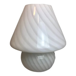 Verti White Swirl Murano Glass Mushroom Table Lamp For Sale