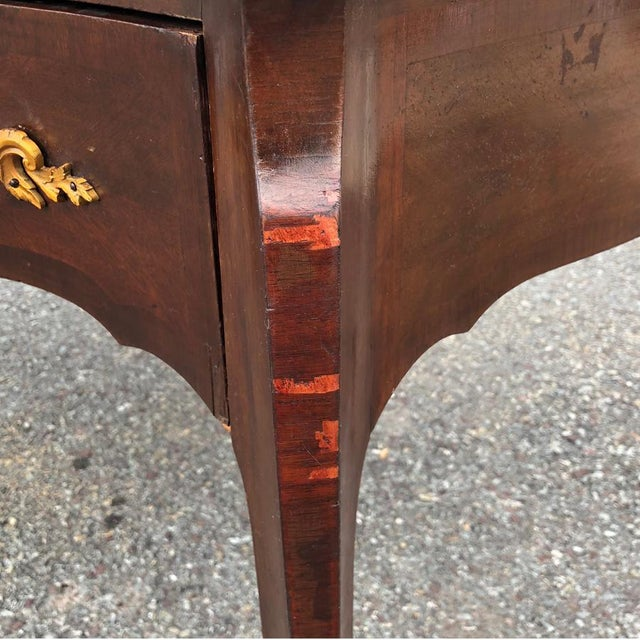 Antique French Rocono Burl Mahogany Partners Desk Library Table W/ Brass Ormolu For Sale - Image 4 of 9