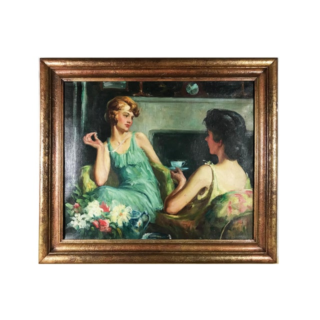 """Large 1920s """"Young Ladies Having Tea"""" Portrait Oil Painting by John Holiver For Sale In Boston - Image 6 of 6"""