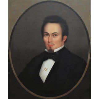 Mid 19th Century Portrait of a Gentleman Wearing a Masonic Pin Oil Painting by Horace Bundy For Sale