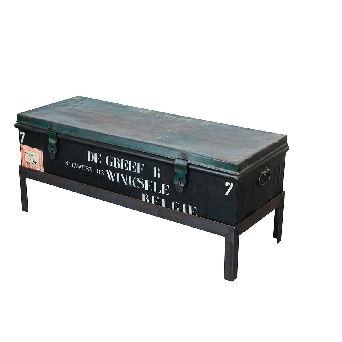 Metal Belgian Military Trunk Into Coffee Table For Sale   Image 7 Of 7