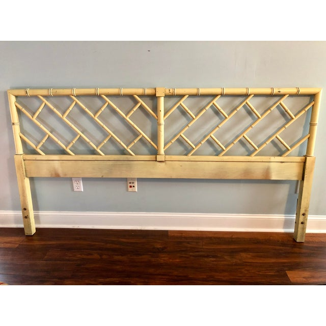 Henry Link Chippendale Yellow Bamboo King Size Headboard - Image 6 of 7