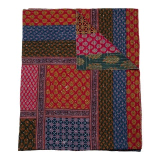 Squares Patchwork Quilt, Queen - Multi-Color For Sale