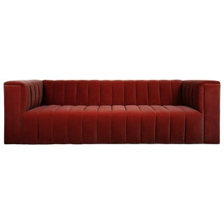 Monaco Sofa in Merlot Velvet For Sale