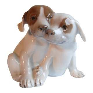Royal Copenhagen Denmark, Porcelain Pointer Puppies Dog Figurine, 1889-1922 For Sale