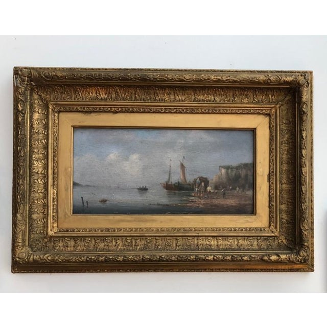 Giltwood Late 19th Century Oil Seascape Paintings - a Pair For Sale - Image 7 of 9