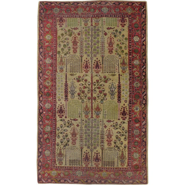 "Early 20th Century Antique Turkish Sivas Carpet - Size: 3' 8"" X 6' 1"" For Sale - Image 5 of 5"