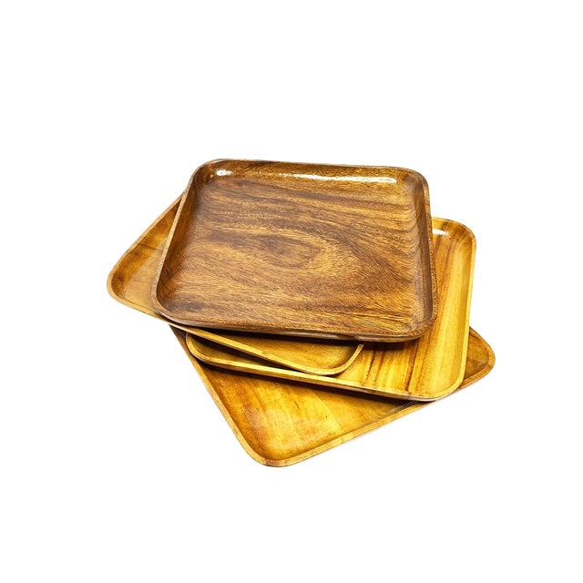 1940s Large Mid Century Modern Wood Plates - Set of 4 For Sale