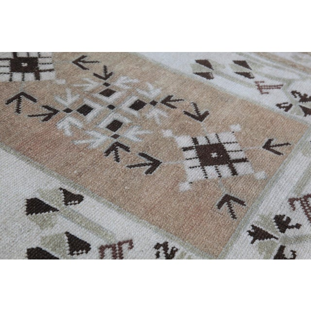 Tan 1970s Vintage Tribal Turkish Rug - 3′5″ × 5′1″ For Sale - Image 8 of 12