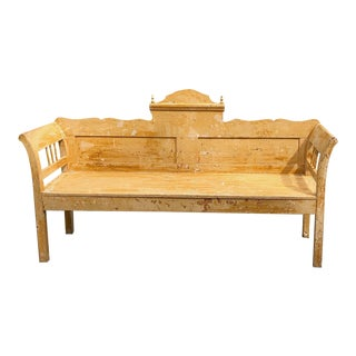 Hall Bench, 19th Century Swedish Painted Pine For Sale