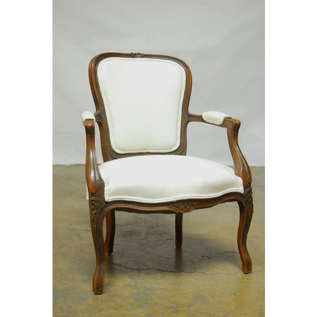 Antique French Louis XV Carved Fauteuil Armchair - Image 6 of 7