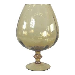 1960s Italian Empoli Style Amber Oversized Goblet Vase For Sale