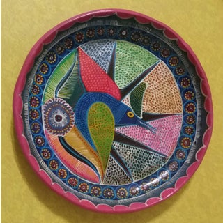 Vintage Mexican Redware Folk Art Abstract Bird Hanging Plate Preview