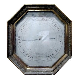18th Century French Barometer in Giltwood Frame For Sale