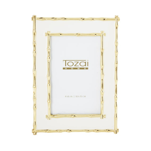 Tozai Home Bamboo White Enamel Picture Frame | Chairish