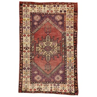 Vintage Turkish Oushak Accent Rug 03'05 X 05'03 For Sale