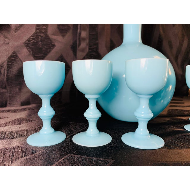 1930s Antique French Blue Opaline Decanter and Cordial Goblets Glassware Portieux Vallerysthal - Set of 7 For Sale - Image 10 of 13
