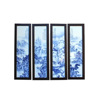 Chinese Blue White Porcelain Scenery Wall Panel Set by Zheng Riqian For Sale