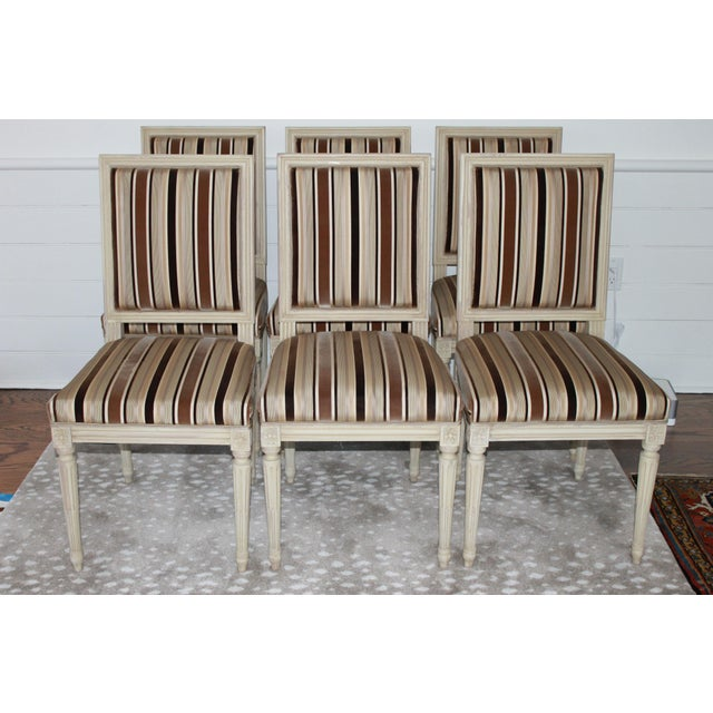 White Louis XVI Style Dining Chairs - Set of 6 For Sale - Image 8 of 8