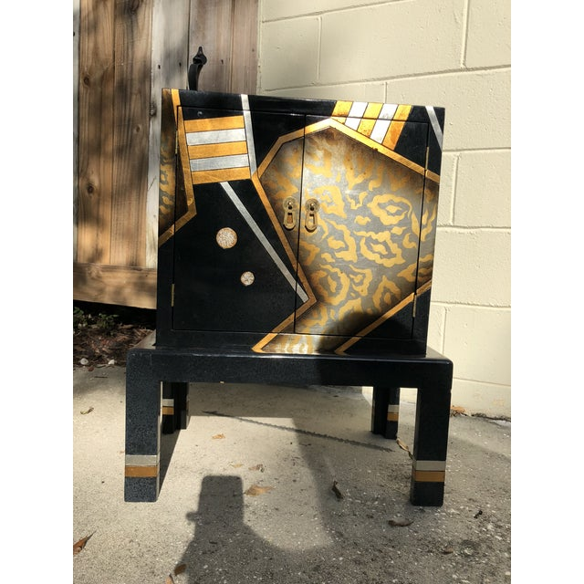 Glam 1980s, hand-painted wood cabinet. Two separate pieces (the top rests on the base). This piece is so Memphis meets...