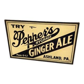 Vintage Original Pepper's Ginger Ale Embossed Tin Sign For Sale