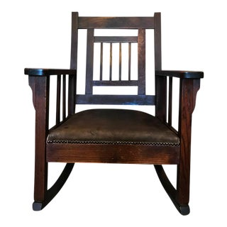 Antique Arts & Crafts Mission Oak Leather Rocking Chair Stickley Roycroft Era