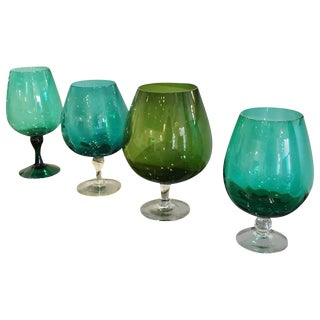 4 Mid Century Modern Handblown in Multi-Green Hues Large Brandy Snifters / Vases Sold Separately