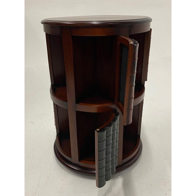 Mahogany and Leather Revolving Book Motife Cabinet For Sale - Image 4 of 9