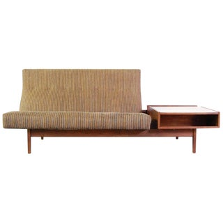 Jens Risom Floating Walnut Frame Sofa With Built in Storage Table For Sale