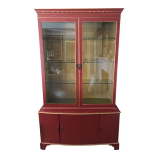 Vintage Red Painted Wood China Cabinet For Sale