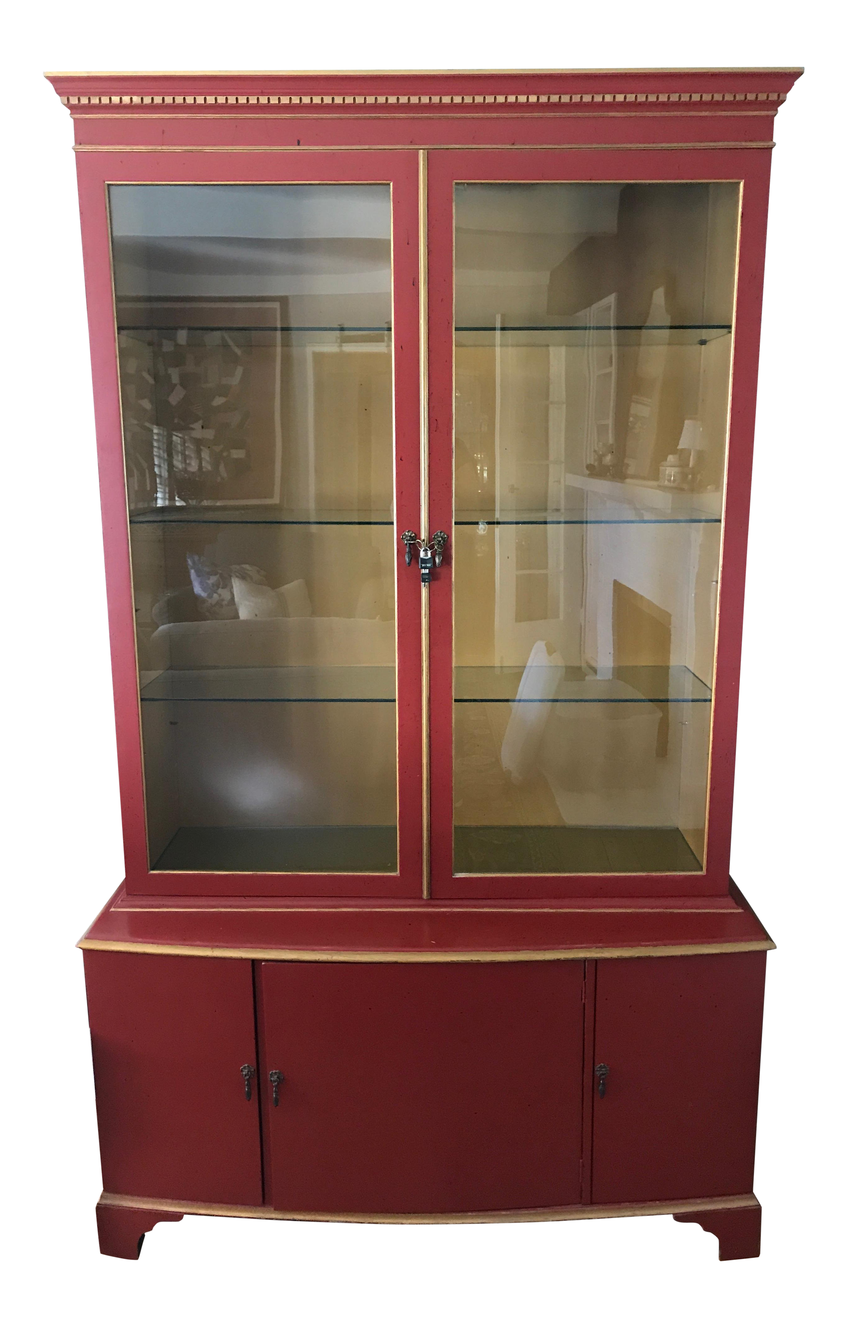 Vintage Red Painted Wood China Cabinet
