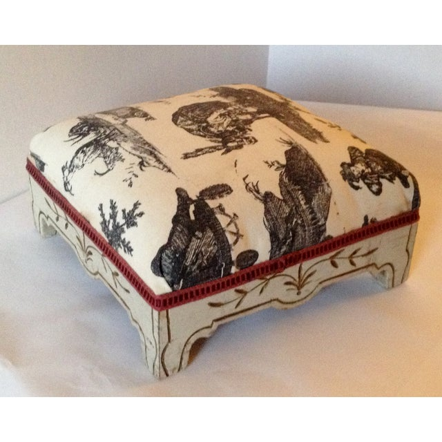 Painted French Footstool with Black & White Toile - Image 3 of 6