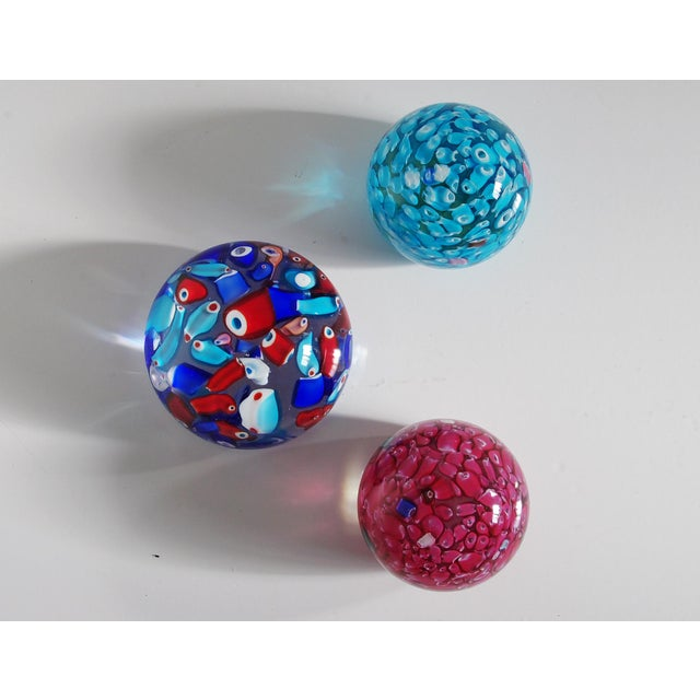Italian Collection of 3 Italian Murano Glass Paperweights For Sale - Image 3 of 6