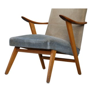 Pair of MidCentury Scandinavian Design in Cherry Wood and Velvet, 1950s For Sale