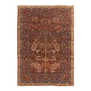 1900s Antique Kerman Lavar Red Wool Rug- 4′9″ × 6′10″ For Sale