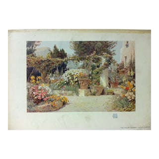 """Vintage 1930s """"An Italian Garden"""" Color Print on Paper by G.S. Elgood For Sale"""