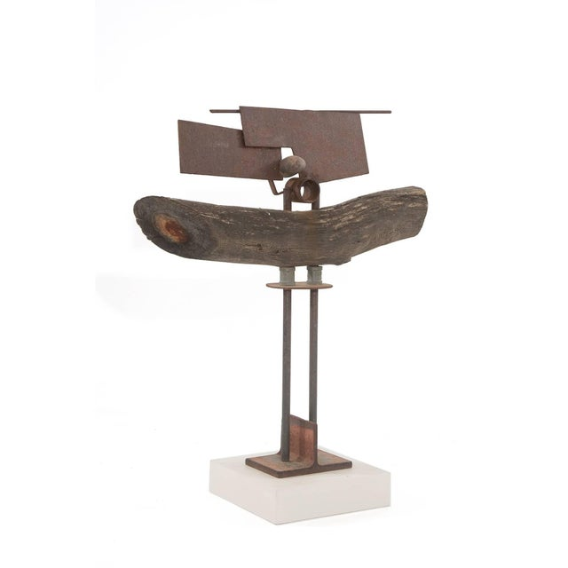 Mid-Century Modern Wood Patinated Steel and Stone Sculpture by Rick Lussier For Sale - Image 3 of 5