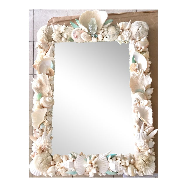 Custom Seashell & Coral Hall or Bathroom Mirror For Sale
