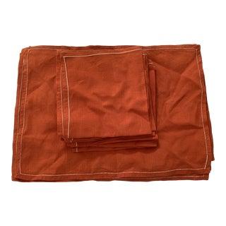 Vintage 1950s Orange Linen Napkins and Placements for 8 - 16 Piece set For Sale