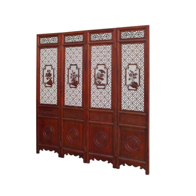 2010s Chinese Reddish Brown Stain 4 Seasons Flower Wood Panel Floor Screen For Sale - Image 5 of 13