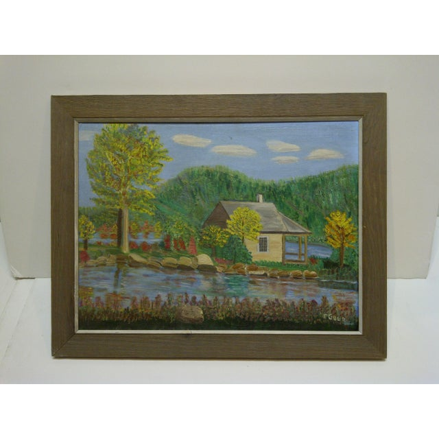 "Americana F. Cobler ""Cabin by the Water"" Original Framed Painting on Board For Sale - Image 3 of 6"
