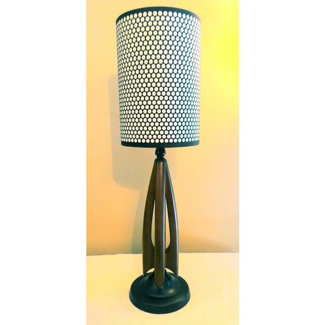 Mid-Century Modern Atomic Danish Wood Mini Lamp - Image 3 of 11