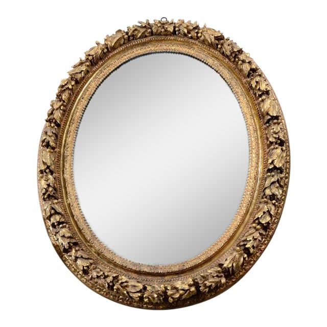 19th Century Carved Wood and Gesso Gilt Mirror For Sale