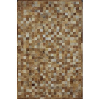 Handmade Camel Cowhide Patchwork Area Rug - 6′7″ × 8′ For Sale